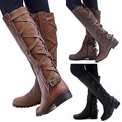 Womens Riding Boots Lace Up Mid Calf Boots Zip Buckle Winter Flat Shoes Size UK