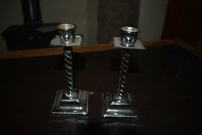 Pair 1930s chrome candlesticks - good condition