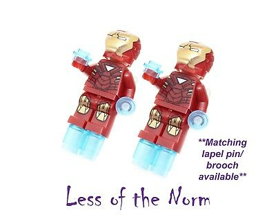 Lego IRON MAN Ironman Marvel Superhero Cufflinks Cuff Links Novelty Wedding Gift
