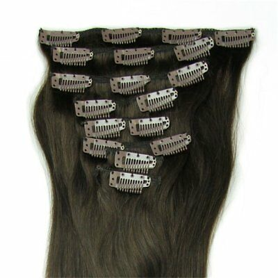 """8PCS 15""""18""""20""""22""""24""""Clip In Full Head 100% Real Remy Human Hair Extensions~ FK"""