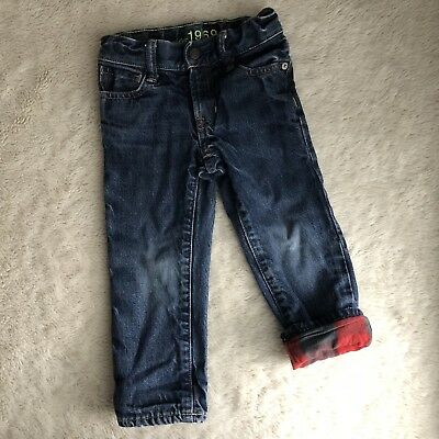 Toddler Boy Size 3T Baby Gap Straight Fit Medium Wash Plaid Lined Denim Jeans