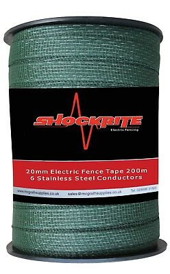 Electric Fence Fencing ShockRite 200m x 20mm Green Tape Horse Pony