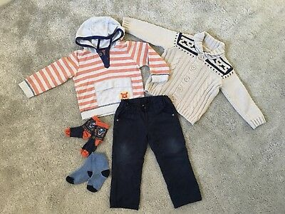 Lovely Bundle Of Baby Boy Clothes 12-18 Months - Trousers, Cardigan, Hooded Top
