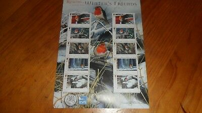 Isle Of Man Robins-Winter's Friends  Miniature Stamp Sheet  Unmounted Mint 2004