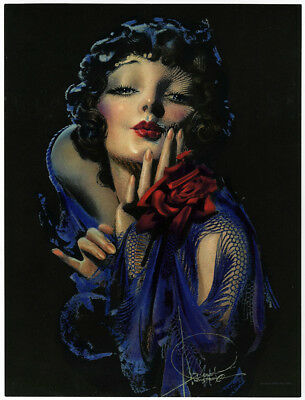 Rolf Armstrong 1930s Antique Art Deco Flapper Vamp Pin-Up Print Blowing Kiss NR