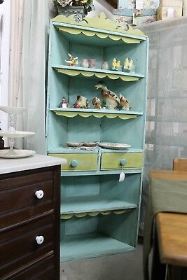 Vintage Painted 5 Shelf Corner Cabinet With Back
