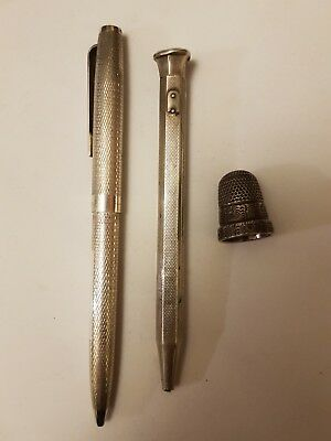 2 X Silver Pencils And Silver Thimble