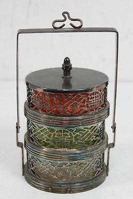 Vintage Shanghai Tang Silver Plated 3 Tier Stackable Handle Candle Holder