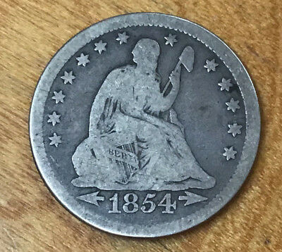 1854 Arrows At Date Seated Liberty Quarter - Bidding Starts At .99 Cents