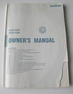 Brother FAX1020/1030 Owner's Manual