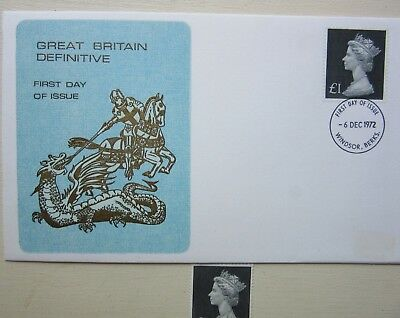 FD Issue 1972 - GB DEFINITIVE (Windsor) £1 stamp + extra £1 MNH DUPLICATE stamp