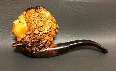 Antique Meerschaum hand carved figural pipe with woman's face and charoot stem