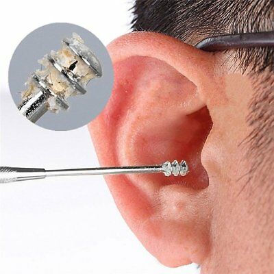 Stainless Steel Double-side Spiral Earpick Cleaner Spoon Ear Cleaning Tool