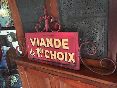 """Antique French butcher Trade Sign """"choice meats"""" Display wrought iron"""