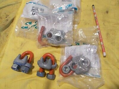 "2 pc LOT of COLUMBUS MCKINNON USA 1/2"" WIRE ROPE CLIPS cable clamp CM250"