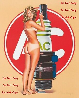 AC Spark Plugs Pinup Girl 8X10 Glossy Photo Picture PIC PIX Man Cave Decor SIGN