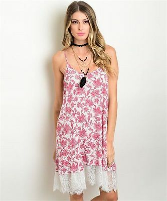 New Wanderlust LA Red and White Paisley Print Dress with Lace Hem S,M,L