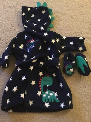 Baby Boy Dressing Gown With Matching Slippers - 0-3 Months