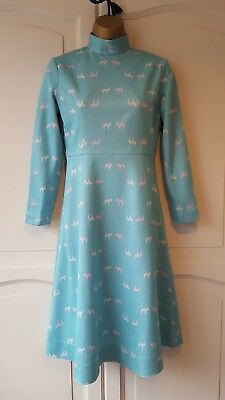 True vintage 1960/70s, baby blue dress white white and pink pattern