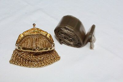 "Rain Hat w/ Gold Tone Metal Link Mesh holder / coin purse Germany Sm 2.75""x VTG"