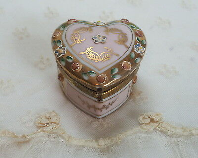 Vintage Heart Porcelain Trinket Box High Relief Enameled Flowers Engagement Ring