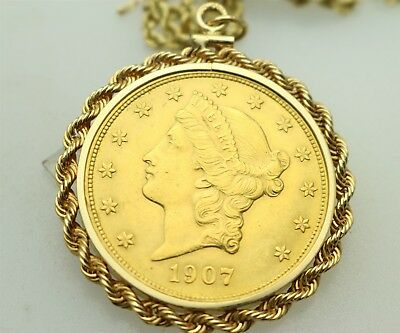 1907 Gold $20 Liberty Double Eagle Coin In 14K Pendant Bezel With Chain, 49.5G