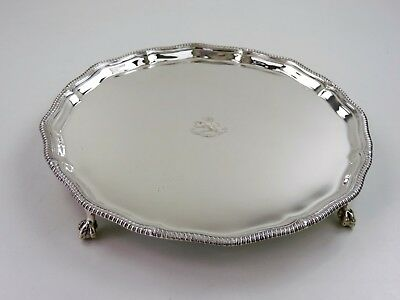 Superb SILVER SALVER with CREST Spes Me in Deo, London 1933 WAITER TRAY 630g