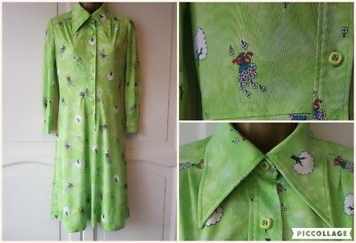 True vintage bright green dress with tree and bouquet pattern 'SU-Moon'