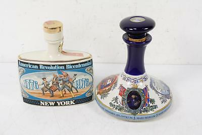 Set of 2 Decanters British Navy Pussers Early Times Revolution Bicentennial