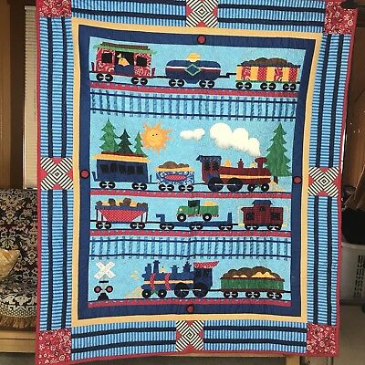 Throw Blanket Quilt Trains Kid Baby Toddler Child Handmade Railroad Wall Hanging