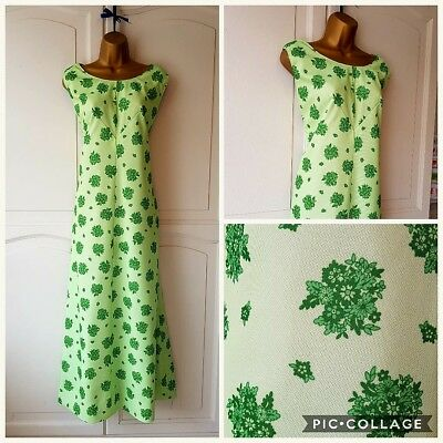 Handmade vintage maxi dress made with vintage material, green floral