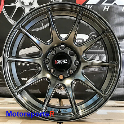 XXR 527 Chromium Black 16x8 +20 Concave Wheels Rims 4x100 Stance Honda Civic SI