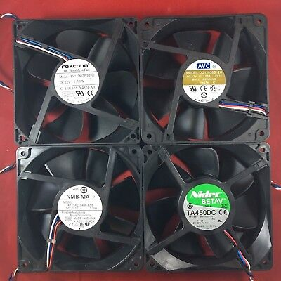 Lot of 4 Dell Y4574 NN495 Mixed Manufactures 120mm x 38mm 12v Cooling Fan