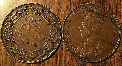 1920 Canada Large 1 Cent Coin Penny Vg-F Buy 1 Or More Its Free Shipping!