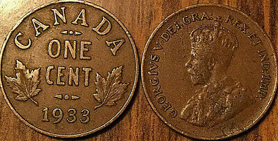 1933 Canada Small 1 Cent Coin Penny Vg-F Buy 1 Or More Its Free Shipping!