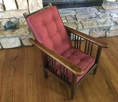 Small Antique Mission Oak Wood Childs Morris Reclining Lounge Arm Chair Recliner