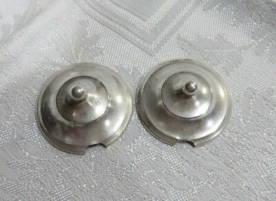 """2 Very Small 1 5/16"""" Round Antique Webster Sterling Silver Condiment Lids"""