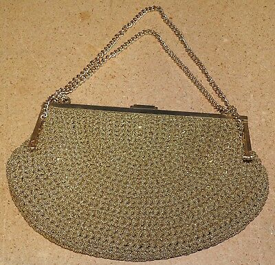 3924f735ec03 Vintage 1970 s Made in Italy Robinson Gold Beaded Evening Bag Purse Clutch