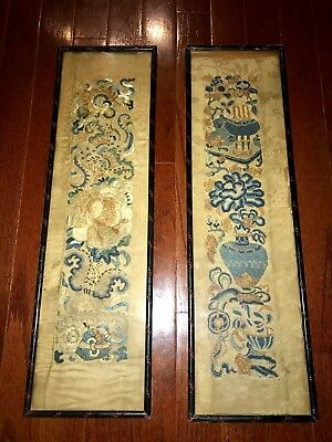 Two of Antique Chinese Silk Tapestries Framed Under Glass 19th C. Embroidery
