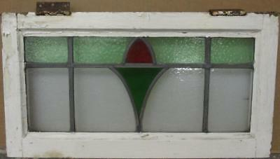 "MID SIZED OLD ENGLISH LEADED STAINED GLASS WINDOW Abstract Floral 25.25"" x 13.5"""
