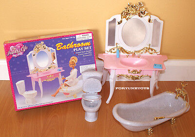 FANCY LIFE DOLLHOUSE FURNITURE Victorian Bathroom TUB & MIRROR SET FOR BARBIE
