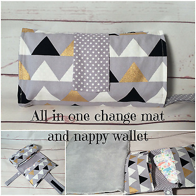 All in one nappy wallet & travel Change mat in Grey metallic Gold, lrg triangles