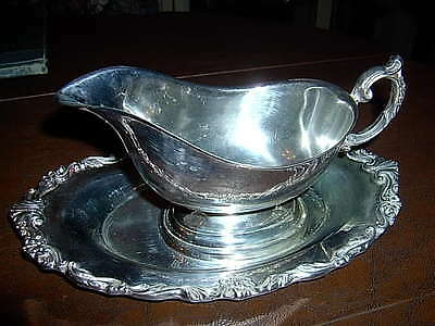 Antique Silver Plate Gravy Boat and Tray