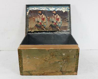 Vintage Hand Crafted Japanese Women Motif Folk Art Wooden Box With Latch