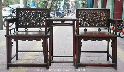 old china huanghuali wood hand carved dragon Classical furniture Chair Desk set