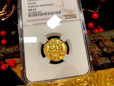"""Italy, Ngc 67 Venice 1414-23 Ducat Gold Coin """"Finest Known"""" Jesus Christ Gospel"""
