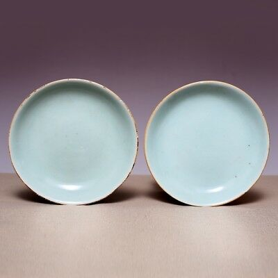 A Pair of Qing Dynasty Chinese Porcelain Old Plate Bean green glaze Dish JZ489