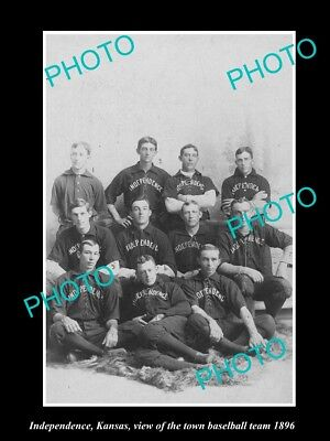 Large Old Historic Photo Of Independence Kansas, The Town Baseball Team 1896