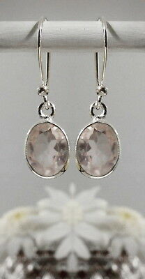 315C Rose Quartz Solid 925 Sterling Silver faceted gemstone earrings rrp$44.95