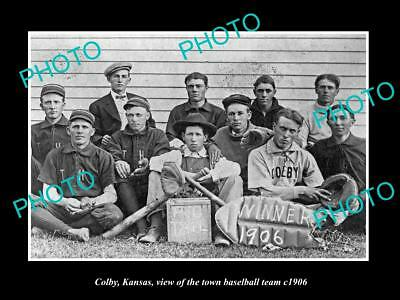 Large Old Historic Photo Of Colby Kansas, The Town Baseball Team 1906